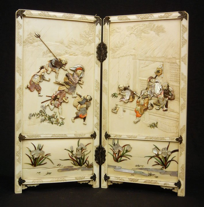 109: Ivory and Shibayama table screen, encrusted with m
