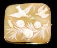 244 Victorian carved shell cameo brooch 10K gold fram