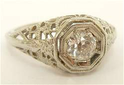 294A Art Deco filigree diamond solitaire engagement ri
