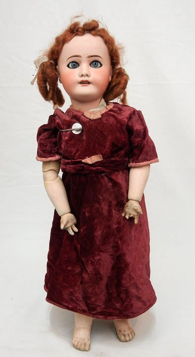 """Limoges France bisque head doll, 23"""", composition body,"""