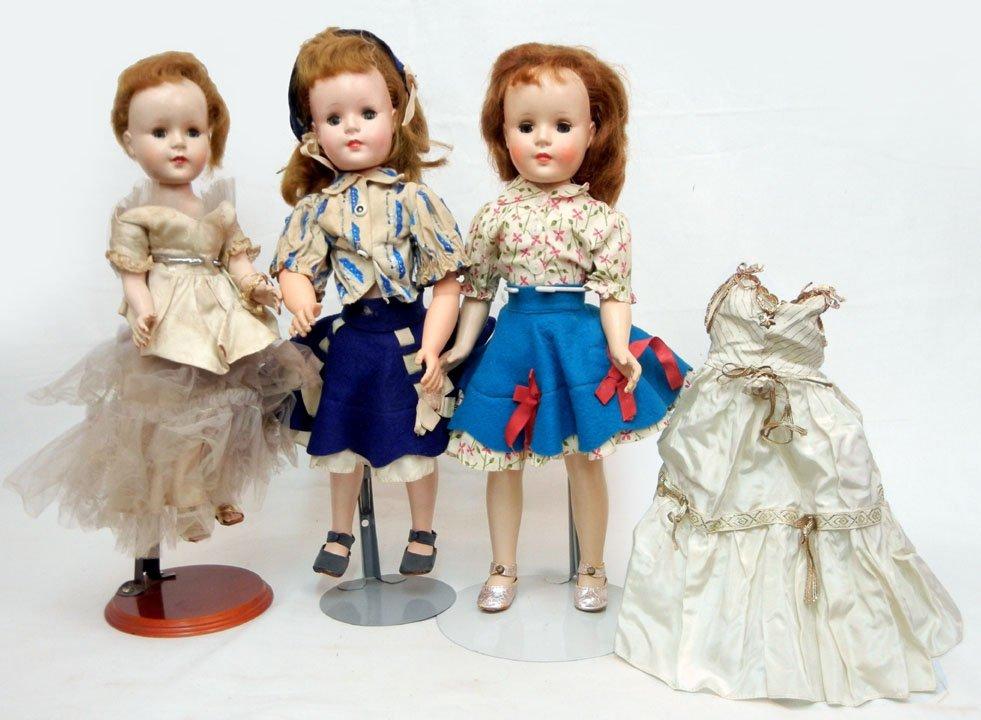Three American Character walker dolls, hard plastic, 18