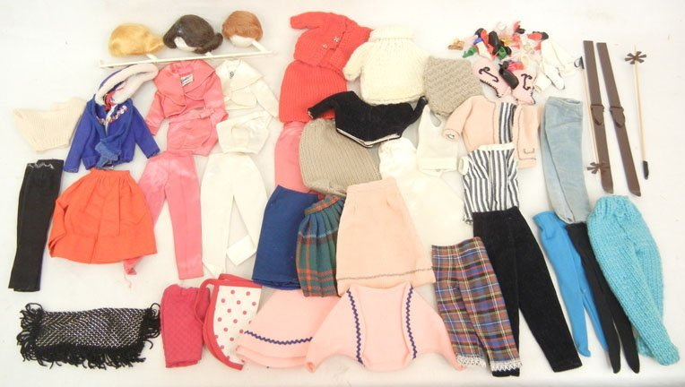 Grouping of Barbie doll clothes and accessories, some t