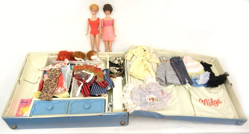 Barbie and Midge doll case with two Barbies