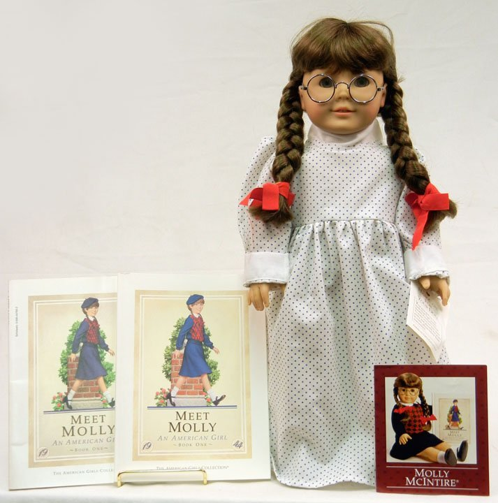 """American Girl """"Molly"""", 18"""", with two Meet Molly books,"""