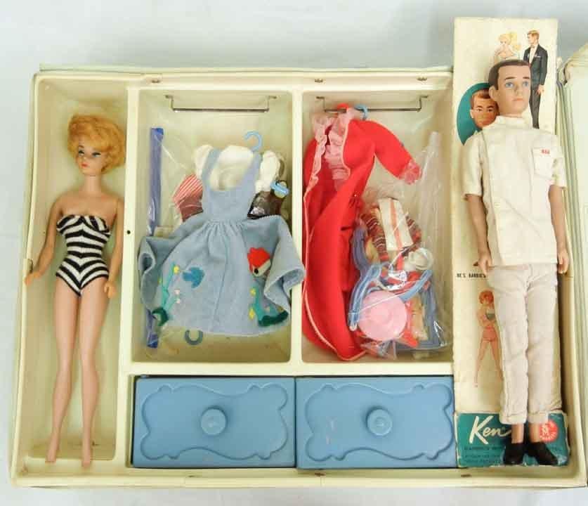 1958 Bubble cut Barbie and 1960 Ken dolls, in a Barbie