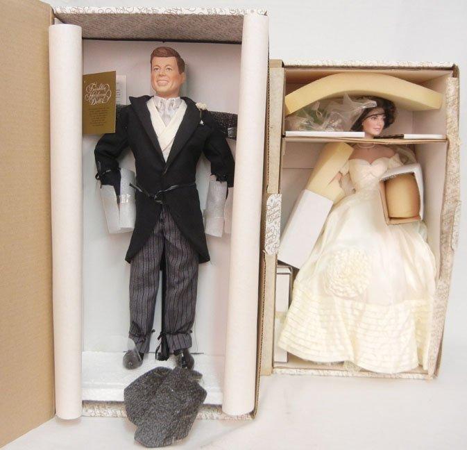Franklin Heirloom Jackie and JFK bride and groom dolls,