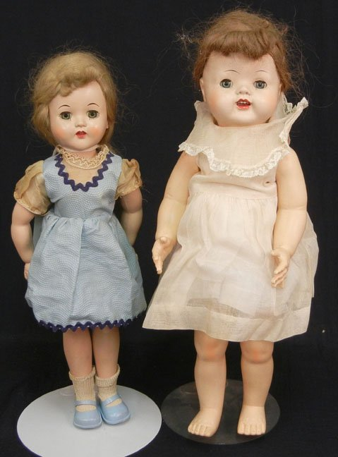 Two hard plastic dolls including a Luann Simms type wal