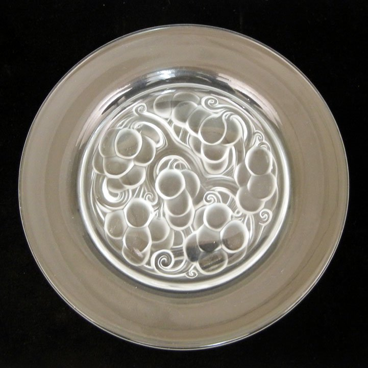 Lalique France crystal plate, cherries design, molded a