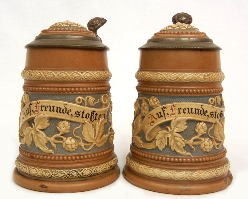 Two Mettlach German pottery steins #1740, 1/4L, floral