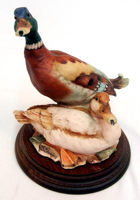 Giuseppe Armani mallards figurine, mounted on wooden ba