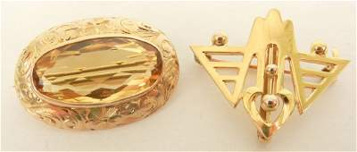 """Two gold pins including 10k Art Deco watch pin, 1"""" wide"""