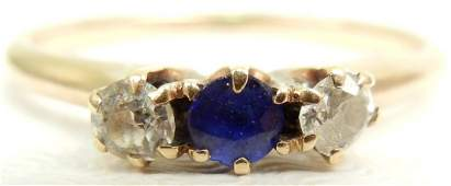 Gold diamond and sapphire ring 14k gold set with one