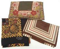 Three silk designer scarves including Hermes, Albert Ni