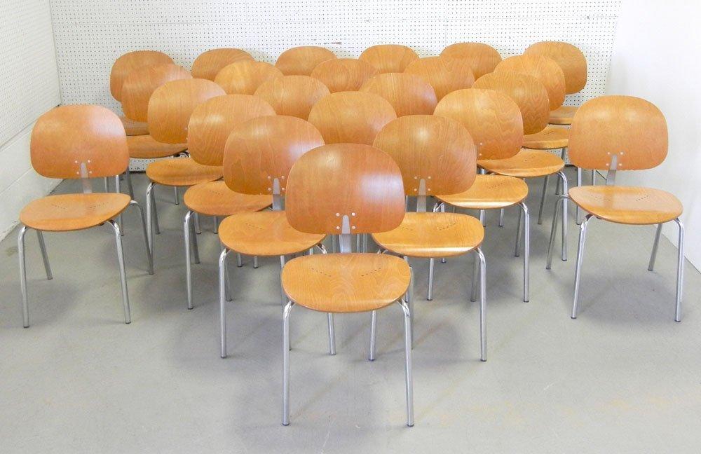 Twenty-three Piretti Xylon Modern wood and chrome chair