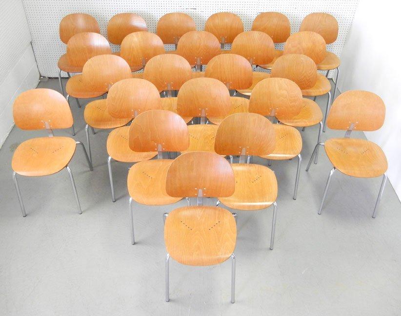 Twenty-three Piretti Xylon Modern wood and chrome chair - 2