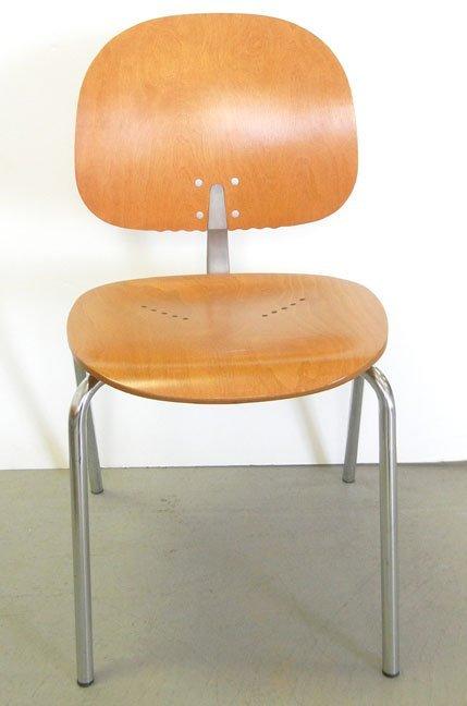 Twenty-three Piretti Xylon Modern wood and chrome chair - 3