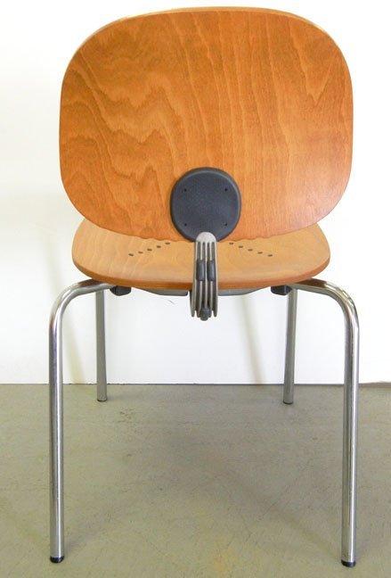 Twenty-three Piretti Xylon Modern wood and chrome chair - 5