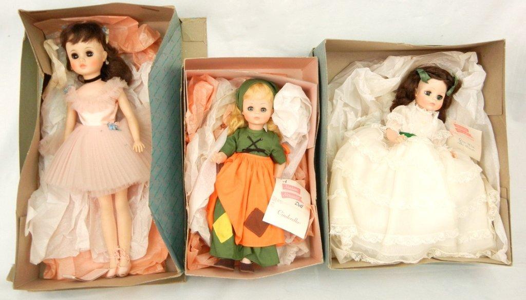 Three Madame Alexander dolls, two in original boxes