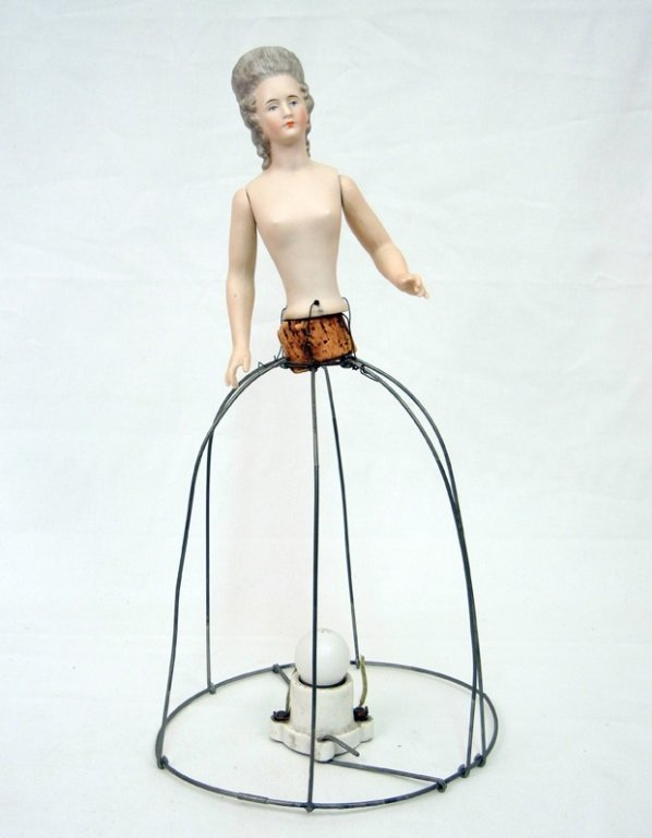 Bisque German half doll lamp, painted features,