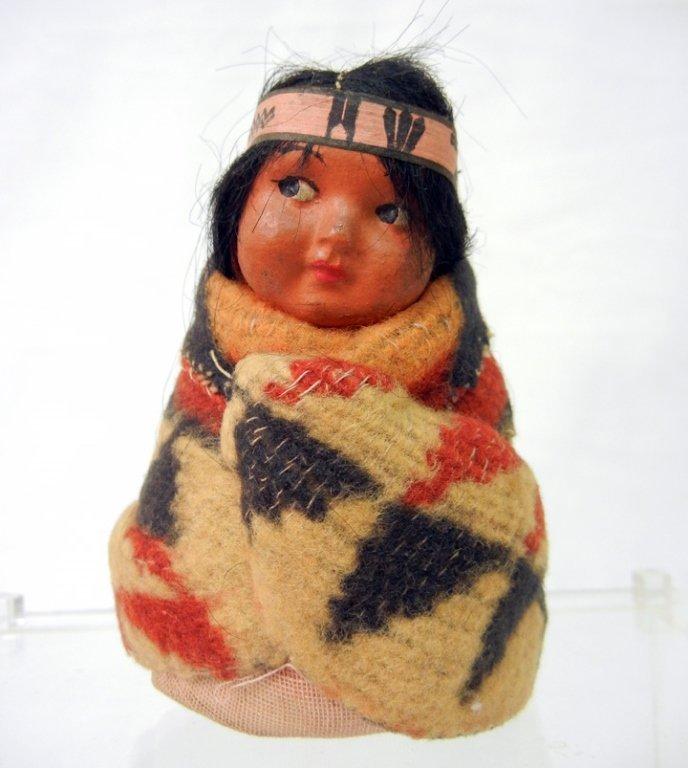 Small Native American child doll, probably Skookum,