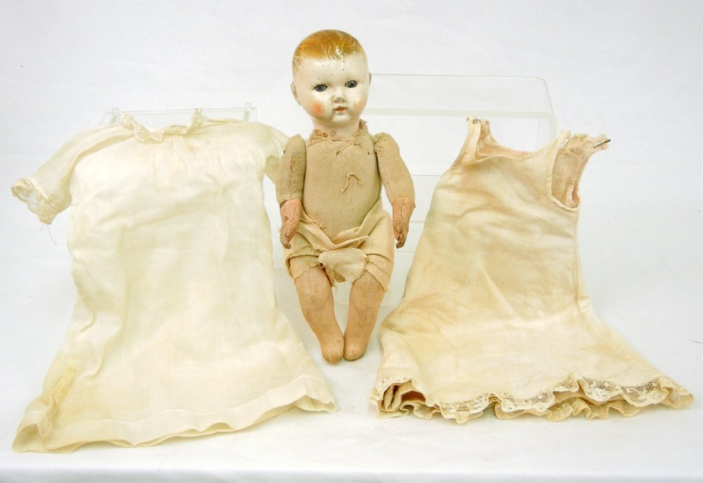 Composition and cloth doll, composition head and hands,