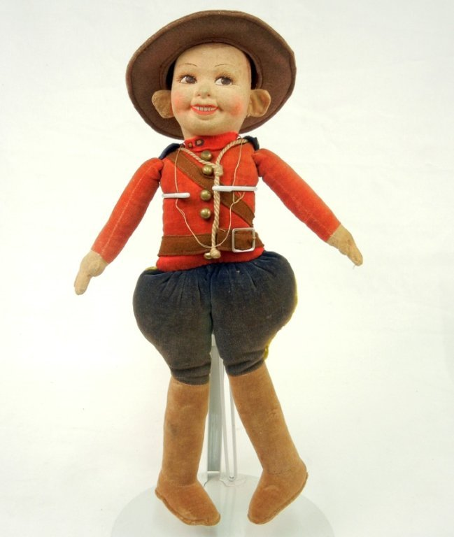 """Norah Wellings cloth doll, """"Mountie"""", with label on"""
