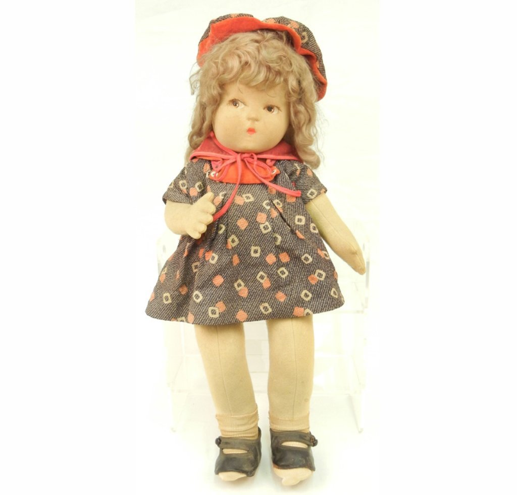 Large cloth doll, painted features, applied lashes,