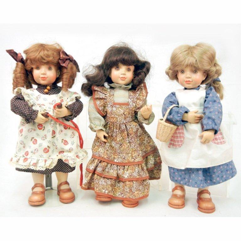 Three Anri Sarah Kay wood dolls, limited editions, all