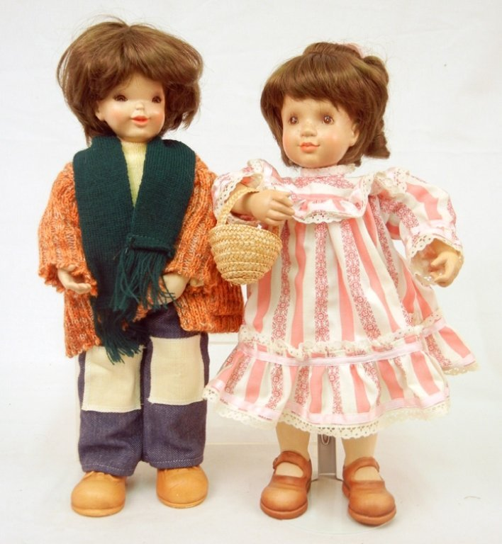 Two Anri wood dolls, limitied editions, painted