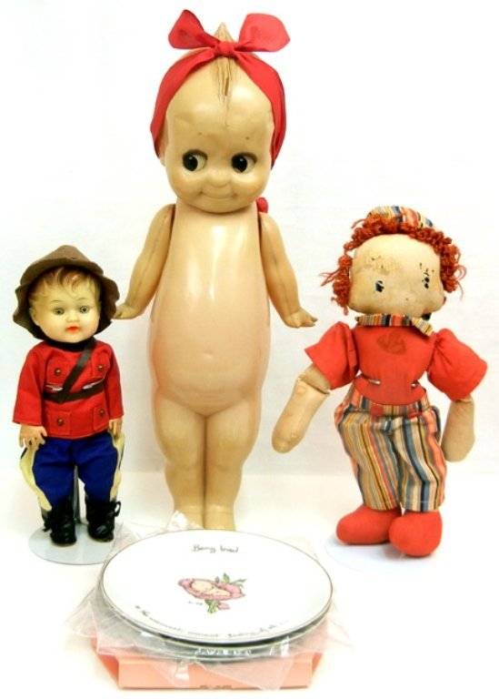 Large 1950's celluloid Kewpie doll, and four Kewpie