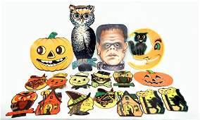 Grouping of seventeen Halloween diecuts including