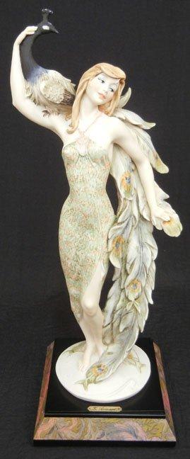Giuseppe Armani figurine, Lady with Peacock, mounted on