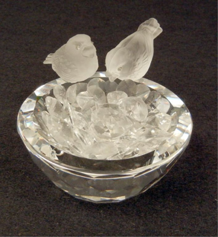 Swarovski crystal bird bath, two birds seated on top, b