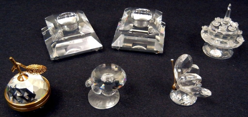 Grouping of six Swarovski crystals, including a pair of