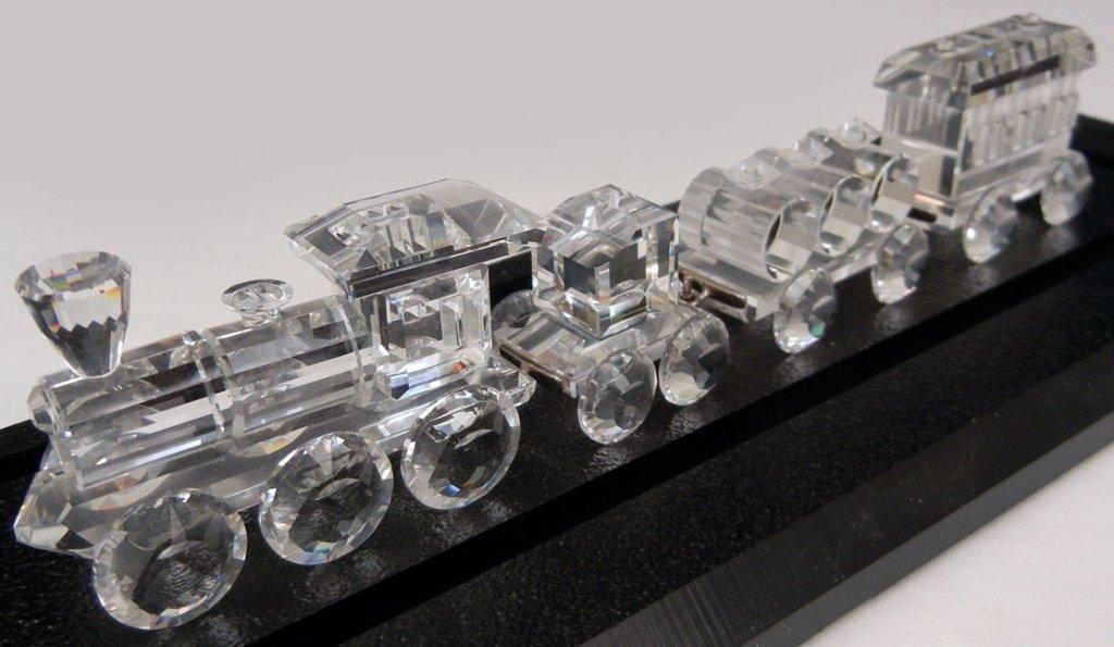 Swarovski crystal train set, including loco, tender, ba