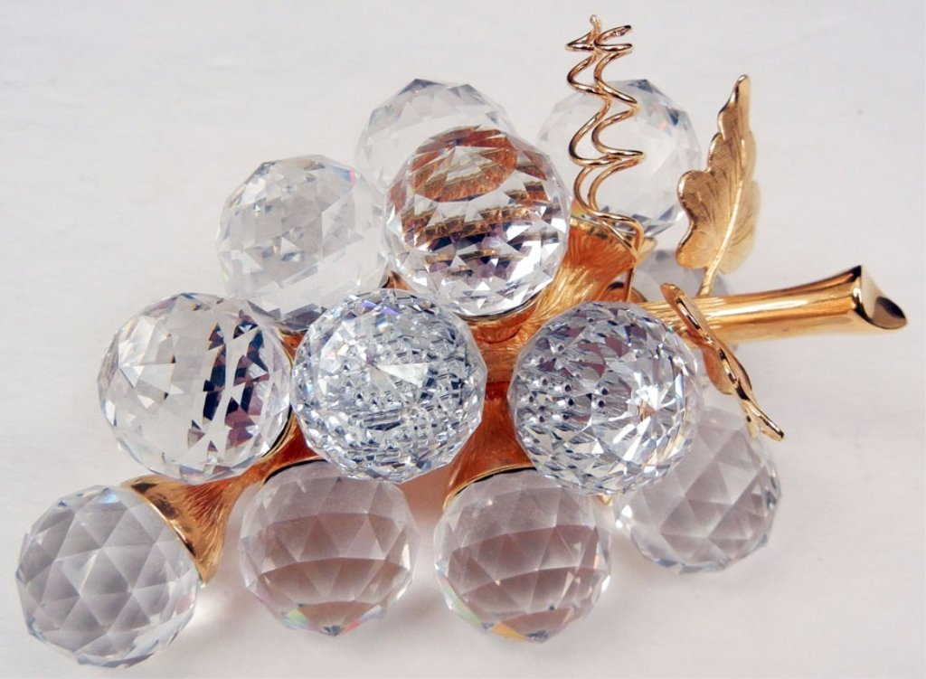 "Swarovski crystal grapes, marked on one grape, 4"" long"