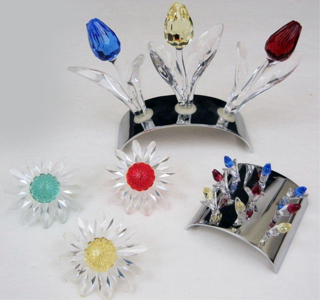 Grouping of Swarovski crystal flowers, nine miniature t