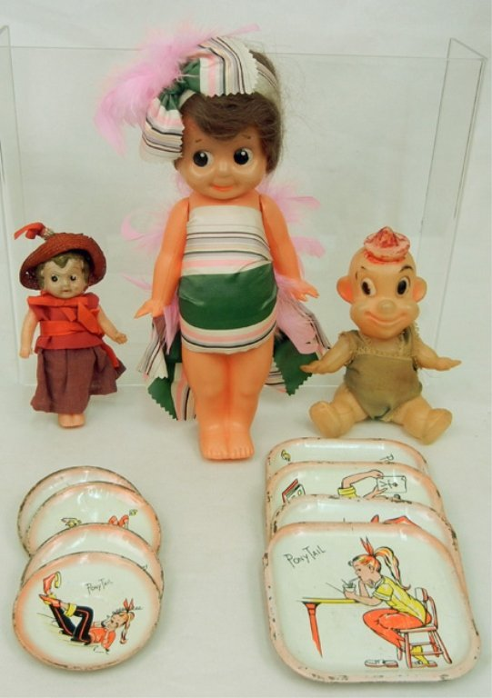 Grouping of celluloid and hard plastic dolls