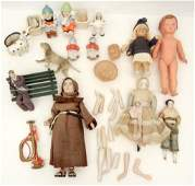 Grouping of vintage bisque and celluloid dolls