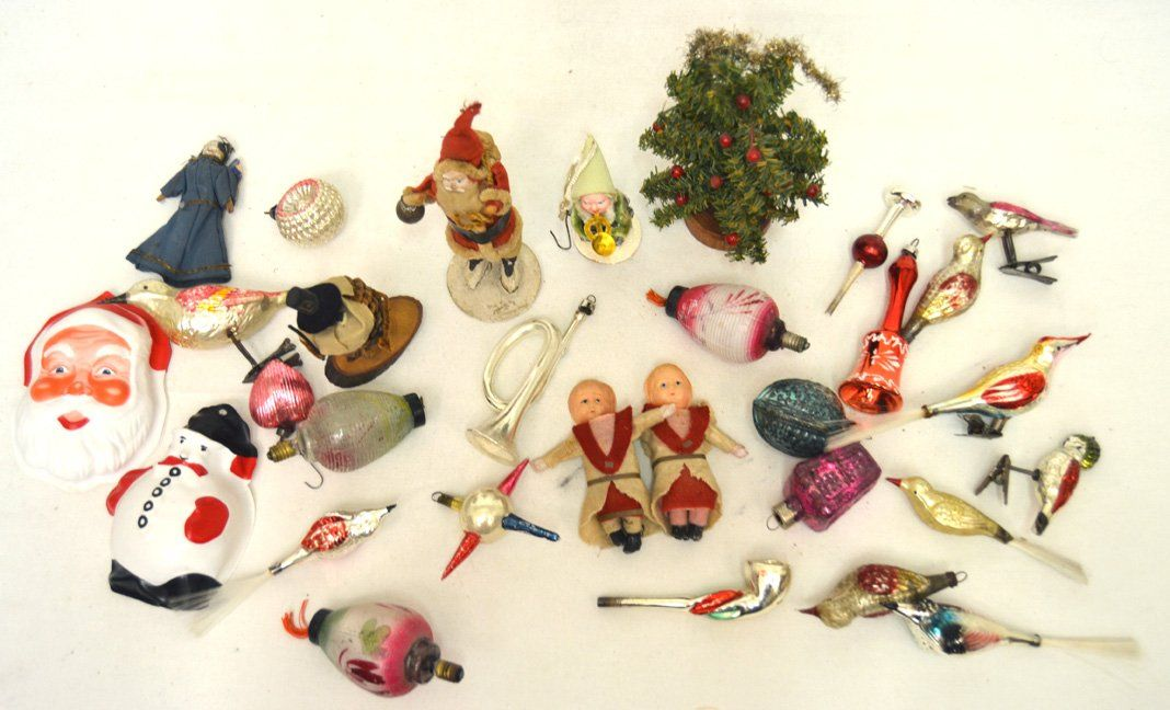 Grouping of early 1900s-1950s German Christmas ornament