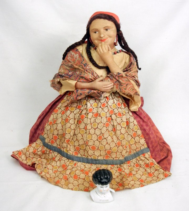 Russian tea cozy stockinette doll, early to mid 20th C.