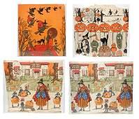 Four Dennisons Halloween crepe paper panels
