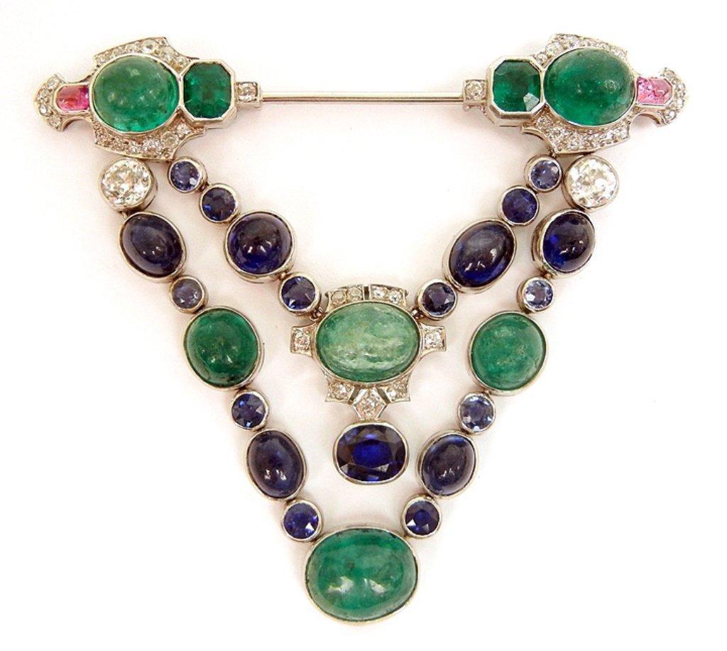 Art Deco platinum, diamond, emerald and sapphire brooch