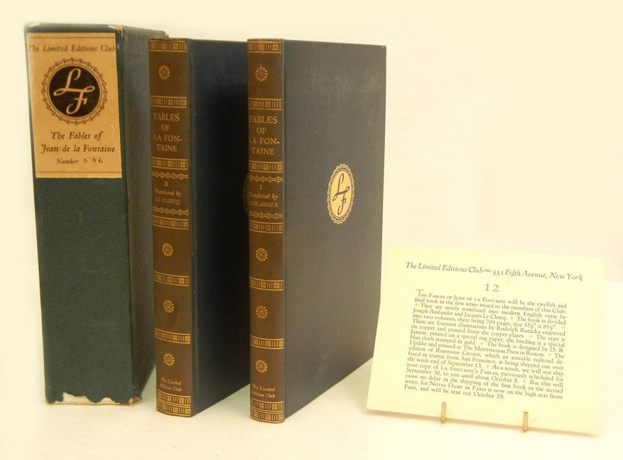 Two vol. set of  The Fables of Jean De La Fontaine