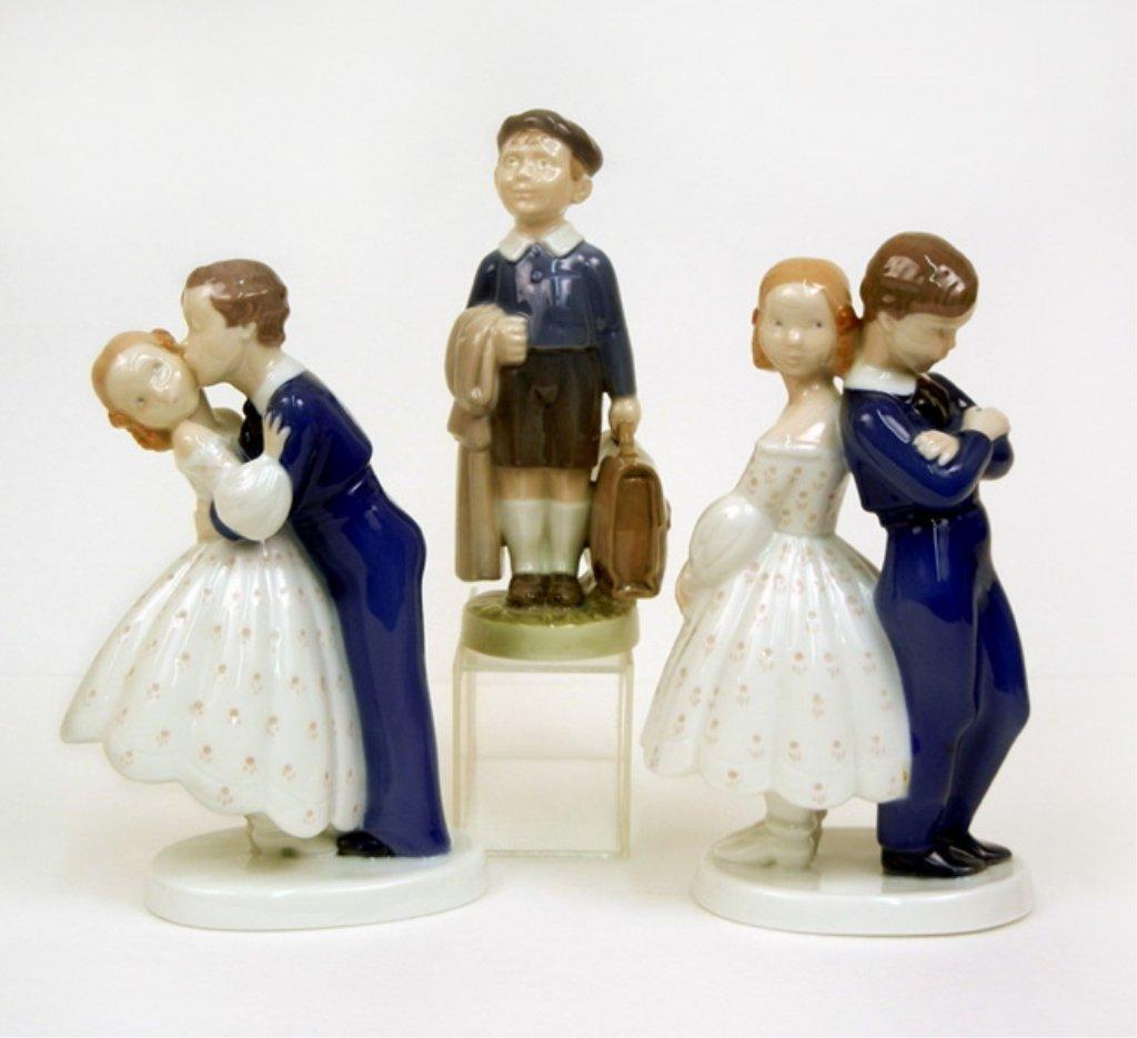 Three porcelain figurines, B&G and Royal Copenhagen