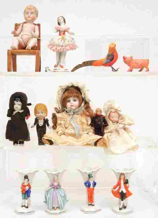 Small lot of antique bisque dolls and porcelain