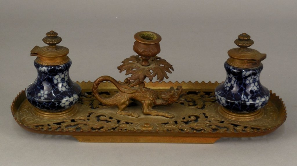 19th C. English bronze and porcelain double inkwell