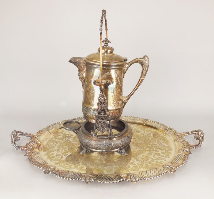 Middletown Plate Co. swing water pitcher on stand and