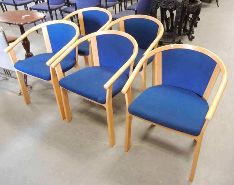 Set of five Magnus Olesen Mid- Century Danish armchairs