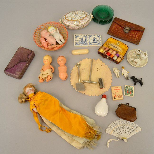 Grouping of antique German bisque dolls, and more